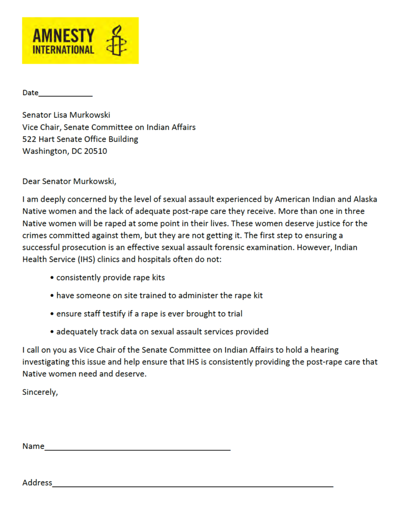 Letter to Sen. Lisa Murkowski